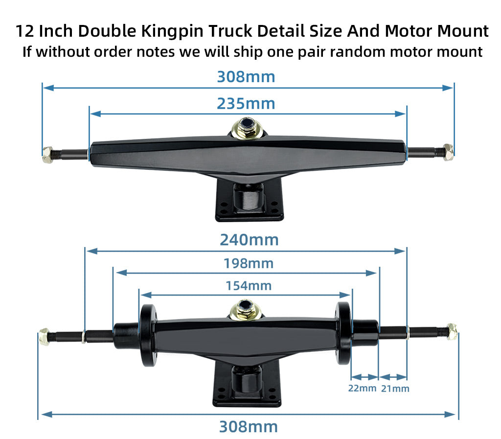 Detail size  of  12 Inches  Trucks