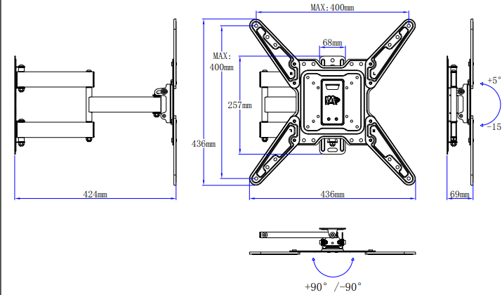 Mounting Dream tv mount md2413-mx product dimensions