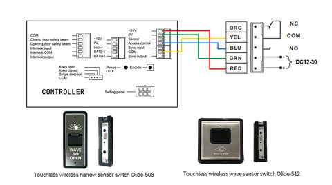 olide-120B wiring with m-508 wireless slim wave to open switch