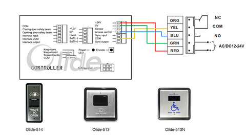 olide-120B wiring diagram with m-514 wired slim wave to open switch
