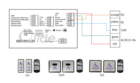 olide-120B wiring with m-510 wireless&wired handicapped push switch