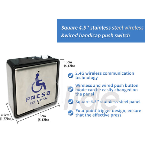 Olidesmart Wireless&Wired Handicapped Push Switch For Automatic Door features