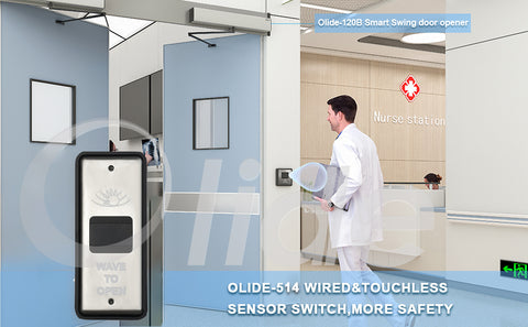 no touch automatic swing door in hospital