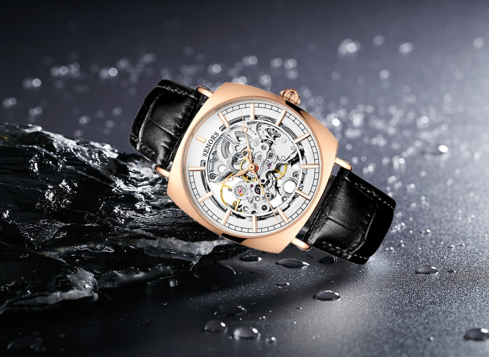 mens skeleton watch with leather strap