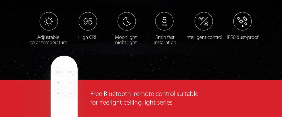Yeelight Smart Remote Control Ceiling APP WiFi Bluetooth LED Room  Light Dimmable Tunable 450 White