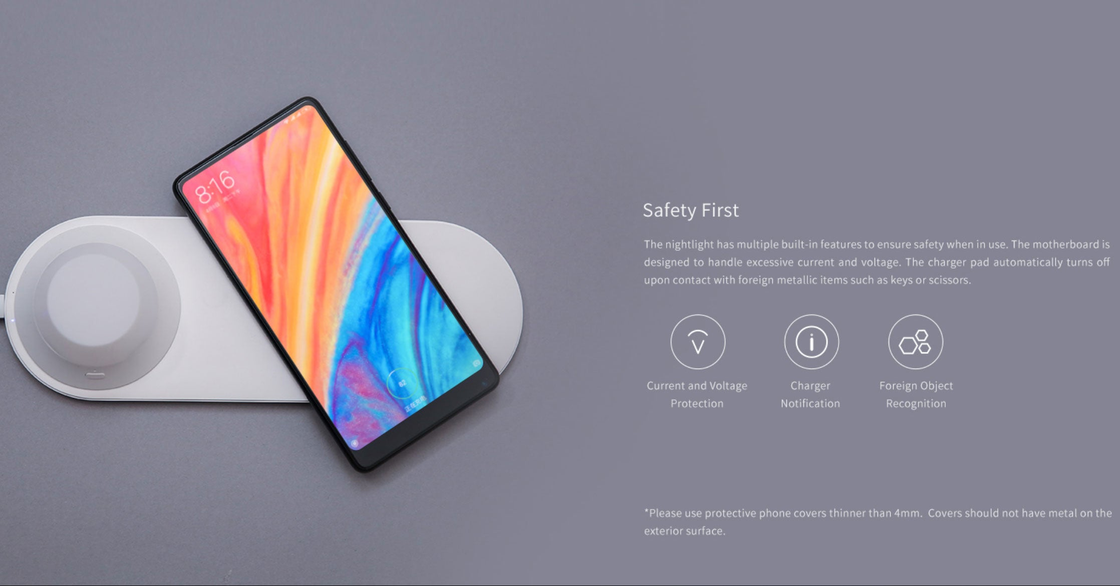 Yeelight XiaoMi 2 in 1 Wireless Fast Charging for mobile phone  Detachable LED Nightlight