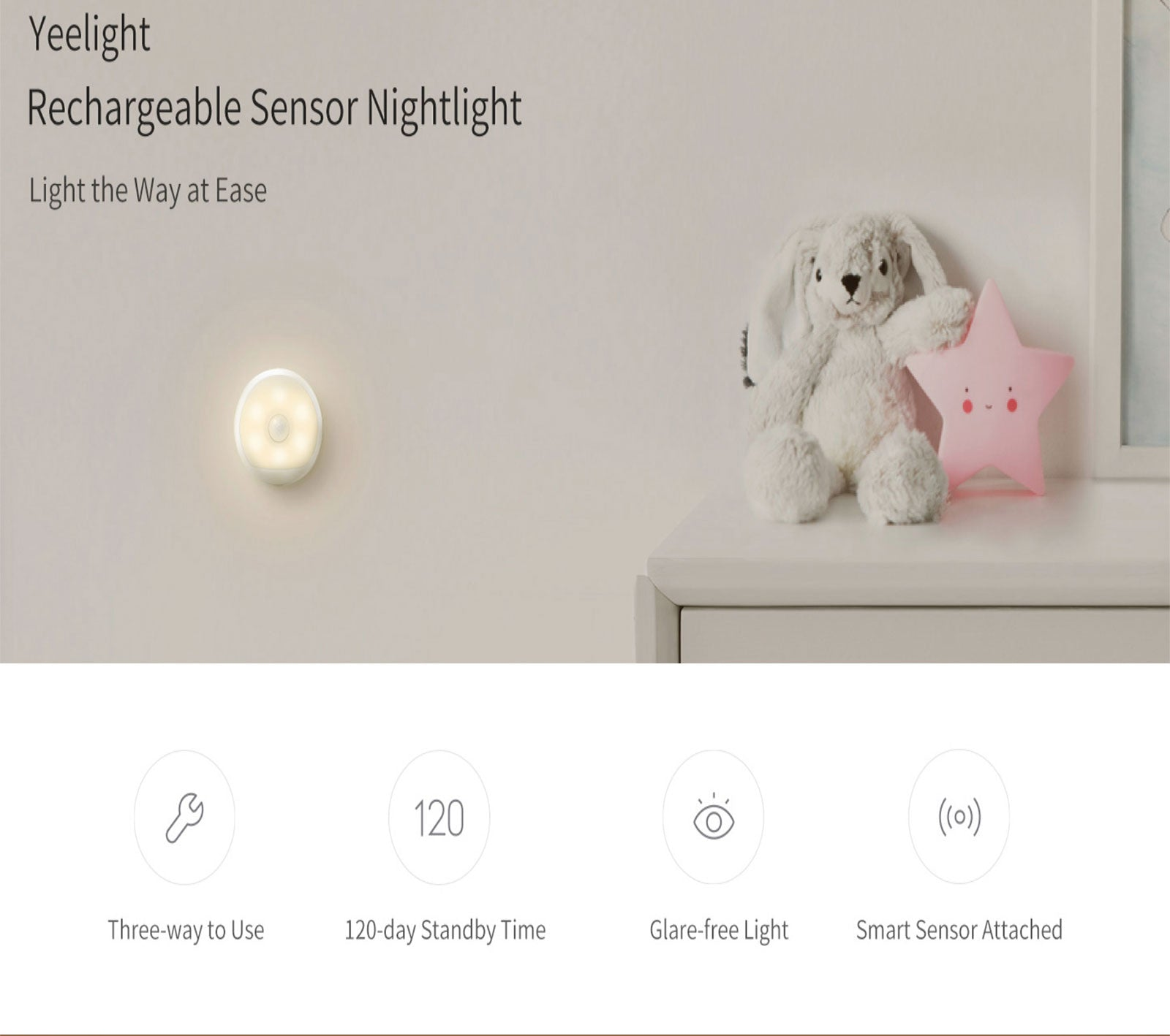 Yeelight Smart Motion Sensor LED Night Light Wireless Rechargeable Lamp