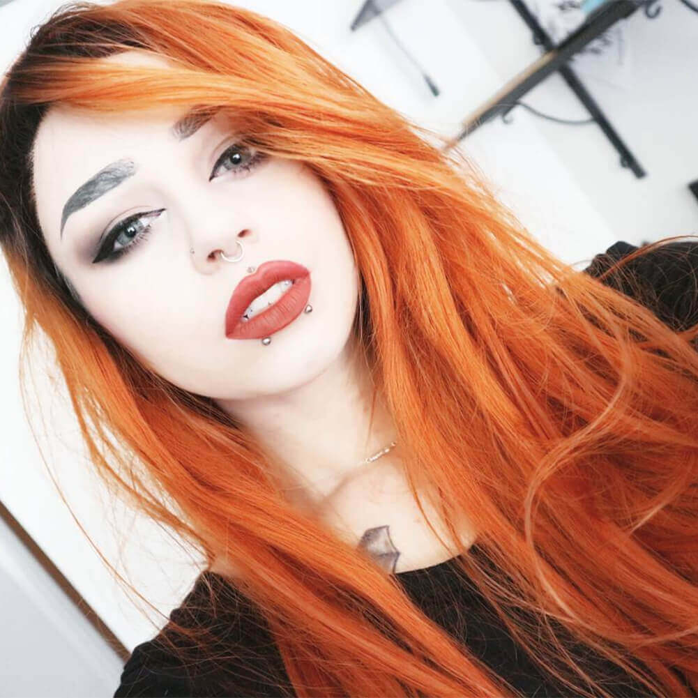 Lace Front Wig Orange Color Heat Resistant Synthetic Fiber Hot Sell HS3033