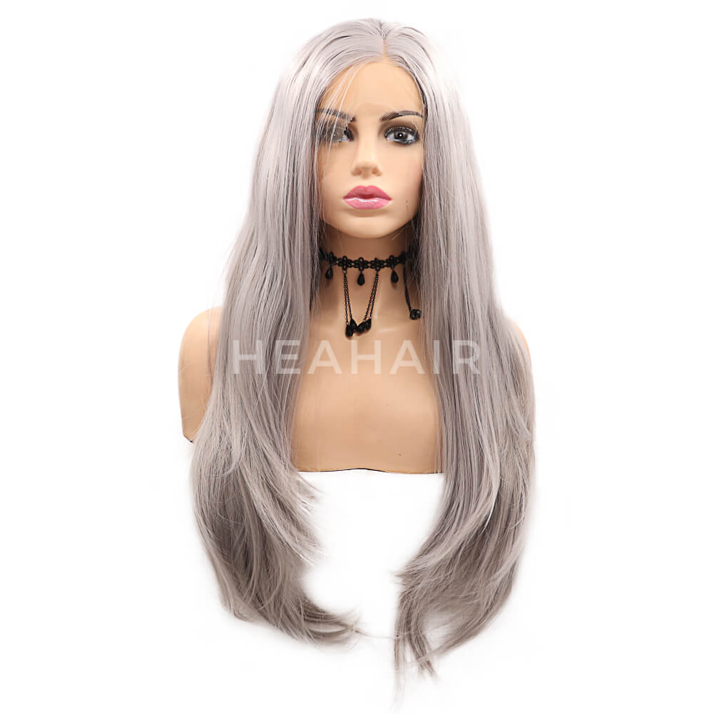 Cheap Price Gray Synthetic Lace Front Wig