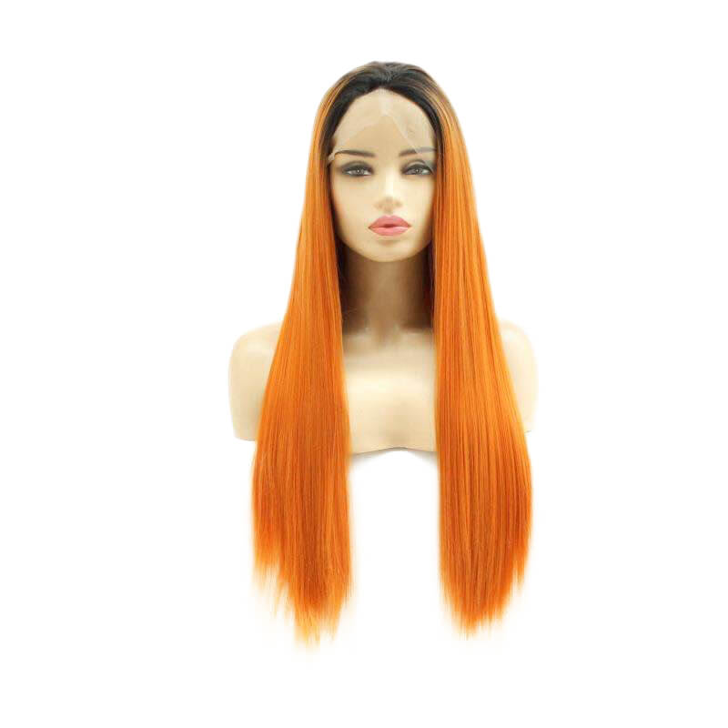 Lace Front Wig Orange Color Heat Resistant Synthetic Fiber Hot Sell HS7144