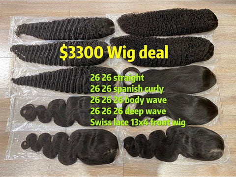10 Wigs Deal 180% Density Swiss Lace 13x4 Front Wig
