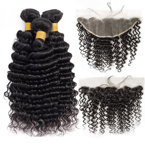 Deep Wave Bundles With Frontal Transparent Lace  Brazilian Human Hair Bundle With Frontals
