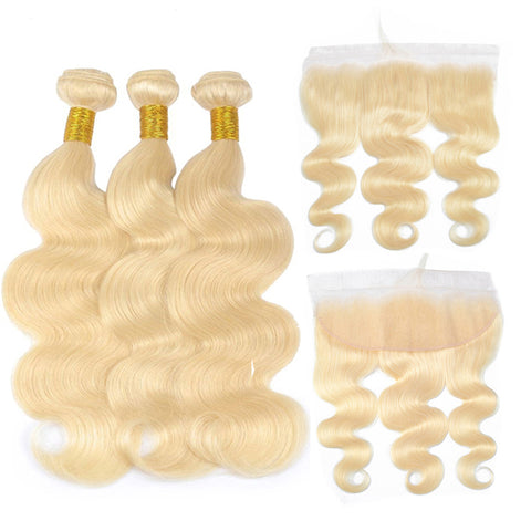 613 Blonde Bundles With Frontal Brazilian Body Wave With Frontal Remy Human Hair Lace Closure With Bundle
