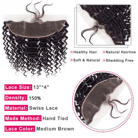Deep Wave 3 Bundles With 13x4 Frontal Ear To Ear Lace Frontal With Bundle Peruvian Human Hair