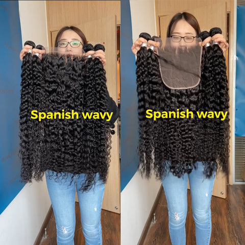 "Spanish Wavy 4x4"" 5x5"" 6x6"" 7x7"" Closure With Bundles"