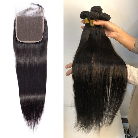 Straight Bundles With 5x5 Closure swiss Lace Brazilian Hair Weave Bundle With Closure Remy