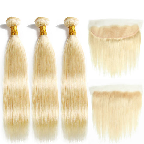 613 Blonde Straight Brazilian Hair Weave Human Hair Bundles with Closure 3PC Remy Hair and 1PC Lace Frontal Closure