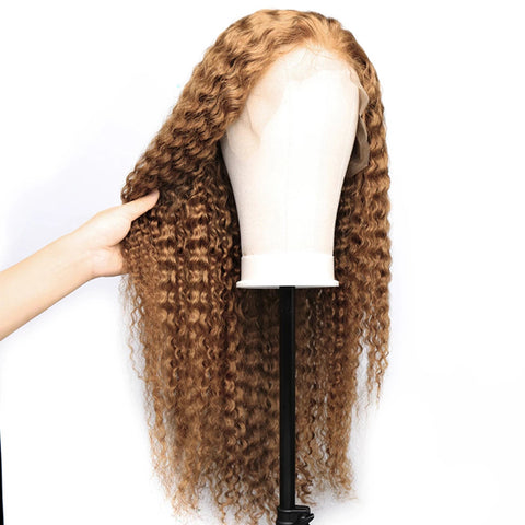 1B ROOT/#27 Color Lace Frontal Closure Wig Curly Brazilian Human Hair