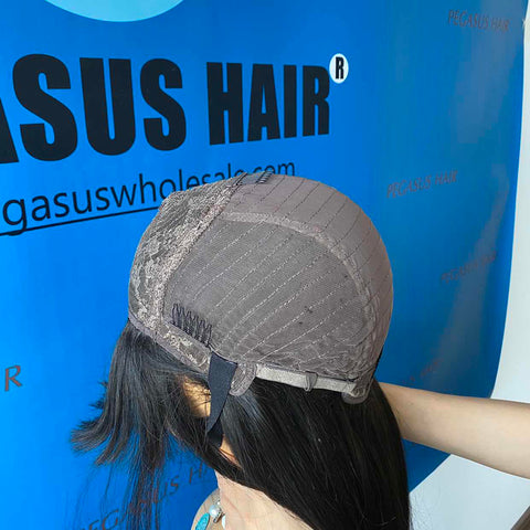 Straight Human Hair Wigs With Bangs Brazilian Wig Full Machine Made Wigs High Quality 130% 150% 180% Density Remy Human Hair Wig