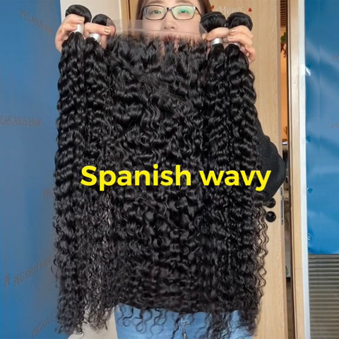 Spanish Wavy 9A 3/4 Bundles Remy Brazilian Hair Extension