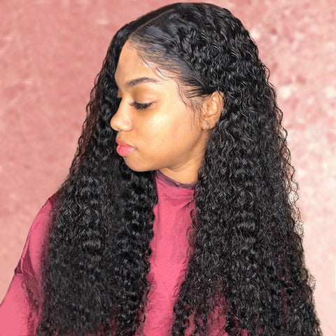 30 Inch HD Lace Fornt Wigs Brazilian Kinky Curly Wave Remy Human Hair Natural Color For Women
