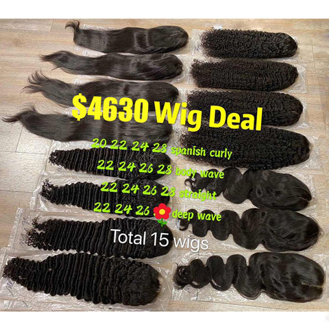 15 pcs Lace Front Wigs Deal Brazilian Human Hair - pegasuswholesale