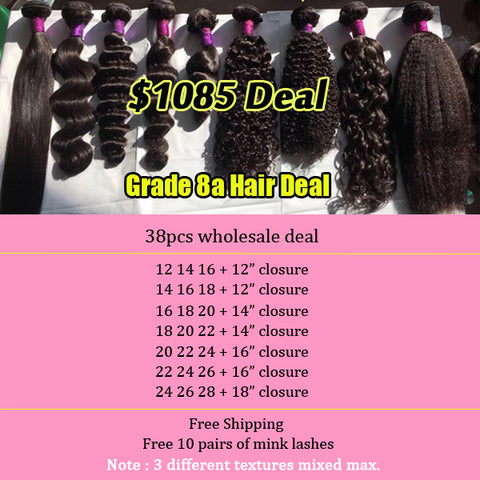 38pcs Deal Bundles with Closure Malaysian Human Hair wholesale price swiss lace 150% density