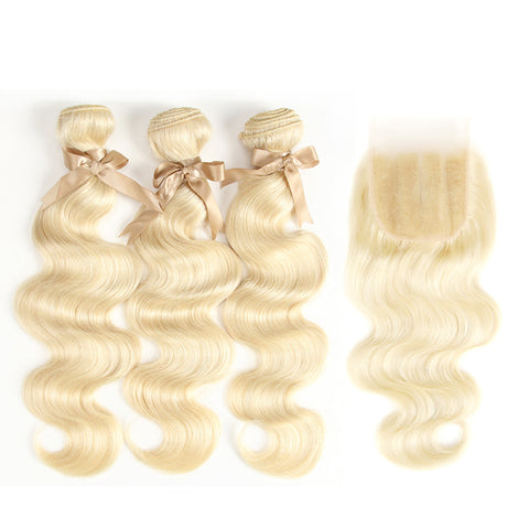 Human Hair Bundles with 4x4 Closure Brazilian Hair Weave Lace Closure with 2 3 4 Bundle Remy 613 Blonde Body Wave Bundle