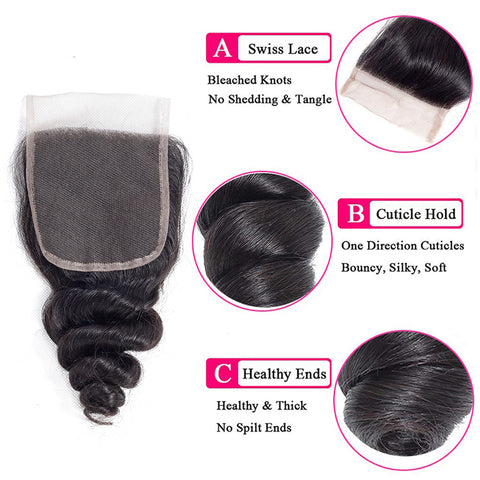 Brazilian Loose Wave Bundles With Closure Remy 3 Bundles With Lace Closure  Human Hair Extensions