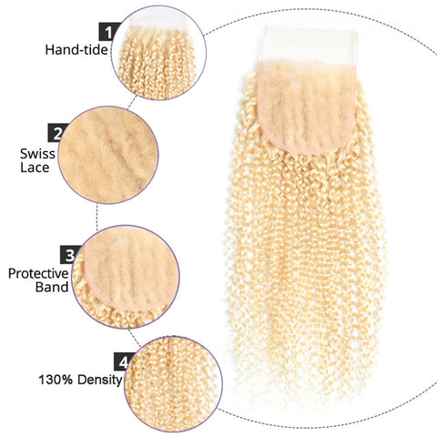 613 Blonde Human Hair 3 Bundles With Transparent Lace Closure Brazilian Kinky Curly Bundles With 4x4 Closure Remy Hair