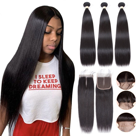 pegasus Brazilian Hair straight 3 Bundles With lace Closure Remy Human Hair Extension