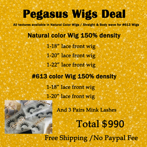 new deal 3 natural clolr wig and 2 613 color wigs 150% Density human hair And 3 Pairs Mink Lashes swiss lace and swiss brown lace