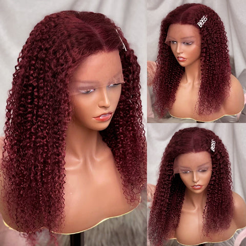 99J Colored Curly Lace Front Wigs Brazilian Human Hair 150% Density