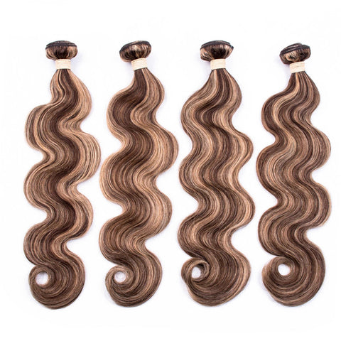 P4-27 Ombre Brown Body Wave Bundles 3/4 Bundles With Closure Frontal 4x4 13x4 Remy Human Hair Extensions Highlight Bundle Brazilian
