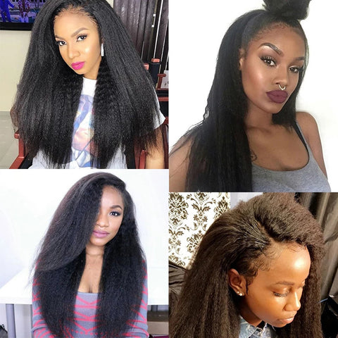 13x6 Transparent Lace Frontal Wigs 150% 180 Density kinky straight Lace Front Wig Brazilian kinky straight Human Hair 6x6 lace closure Wigs