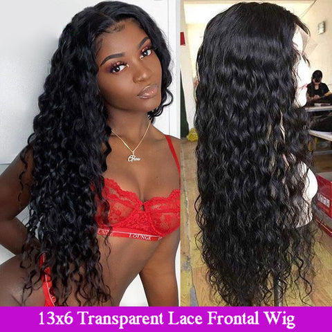 13x6 Transparent Lace Frontal Wigs 150% 180 Density Water Wave Lace Front Wig Brazilian Water Wave Human Hair 6x6 lace closure Wigs