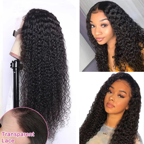 13x4 Transparent Lace Front Wig Curly Human Hair Wig Brazilian Remy Hair Jerry Curl frontal Wig 150% 180% Density 4x4 5x5 Lace Closure Human Hair Wigs
