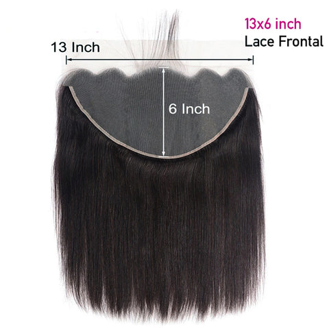 Straight Human Hair Bundles With 13X6  Transparent Lace Frontal Brazilian Remy Hair Pre Plucked