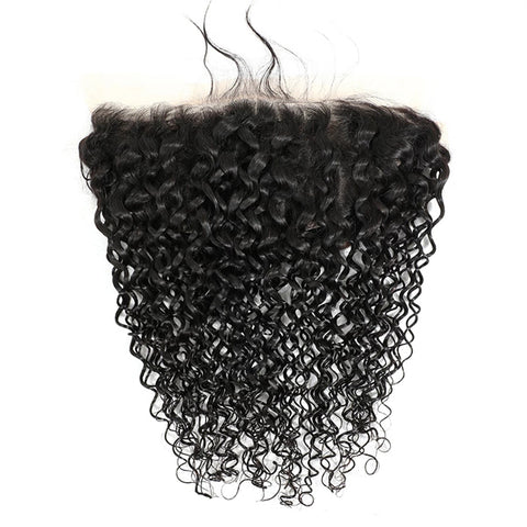 Water Wave Human Hair Bundles With 13X6  Transparent Lace Frontal Brazilian Remy Hair Pre Plucked