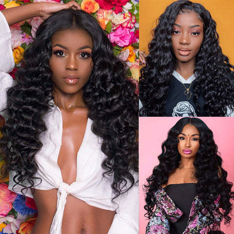 Loose Deep Wave HD Swiss Lace Front Wigs For Black Women Brazilian Natural Color Remy Human Hair Glueless Wigs 150% Density Invisible lace
