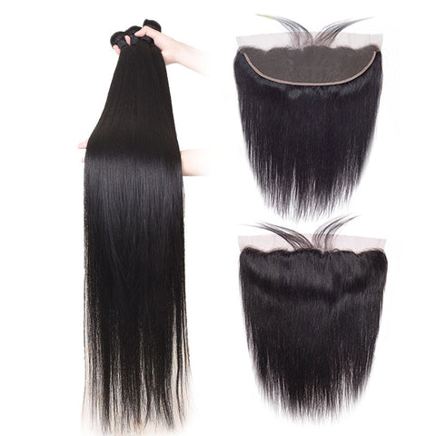 28 30 Inch Straight Human Hair Bundles With Frontal Brazilian Remy Hair Pre Plucked 13x4 Lace Frontal With Bundles