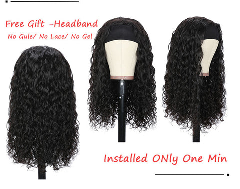 Water Wave Headband Wig Human Hair Full Machine Made Wigs For Women Glueless Scarf Wig Brazilian Remy Hair With 130 150 180% Density