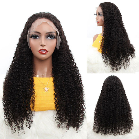 """30 Inch HD Lace Fornt Wigs 13X4"""" Brazilian Kinky Curly Wave Remy Human Hair Natural Color For Women"""