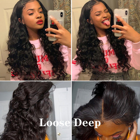 "HD Swiss Lace Frontal 13X4""  Brazilian Loose Deep Wave Remy Human Hair Ear To Ear Swiss Lace Frontal Closure Pre Plucked  invisible"