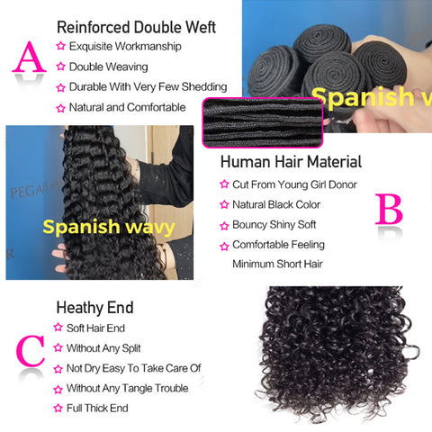 Spanish wavy Bundles With Frontal Brazilian Human Hair Weave 3 Bundles Remy 13x4 13x6 Frontal from Ear to Ear Swiss lace