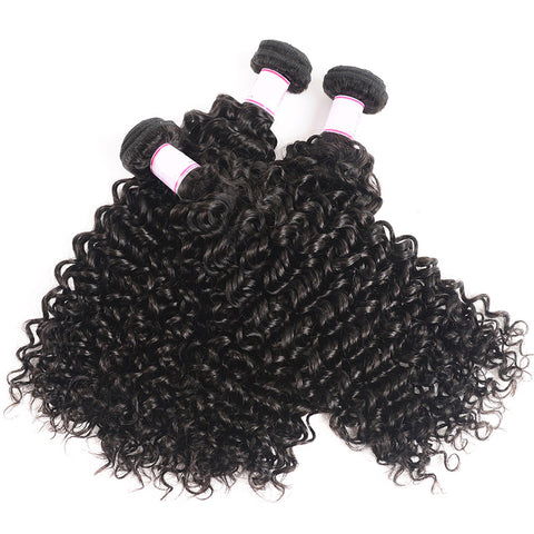 Curly Human Hair Bundles With 13X6  Transparent Lace Frontal Brazilian Remy Hair Pre Plucked