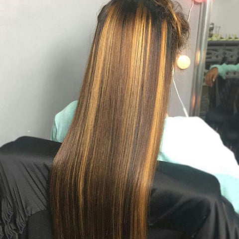 Straight Highlight Wig 4x4 Closure Wig Piano Color 13x4 Lace Front Human Hair Wigs 4/27 Ombre Remy 150% 180% density