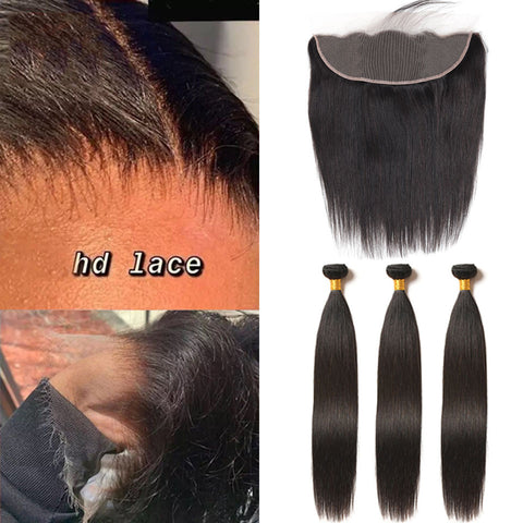 Hd Swiss Lace Frontal 13x4 Ear To Ear With Bundles Straight Human Hair