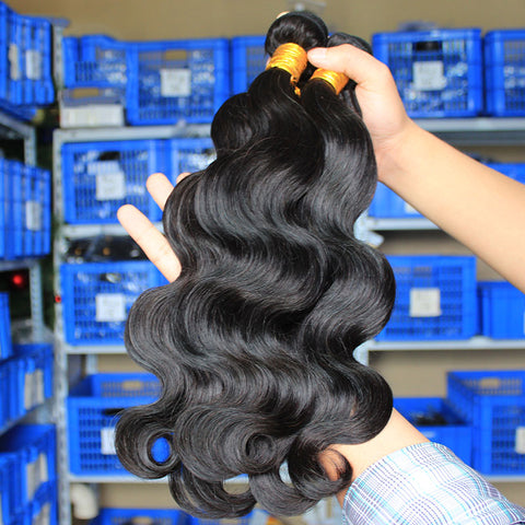 Vendor WHOLESALE Brazilian Hair Weave Bundles Body Wave Human Hair Extension 3 Bundles Deal Long Virgin Natural Color hair raw and from a single donor
