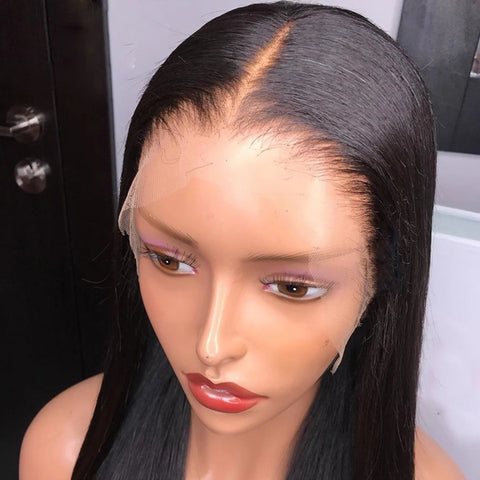 13x6 Transparent Lace Frontal Wigs 150% 180 Density Straight Lace Front Wig Brazilian Straight Human Hair 6x6 lace closure Wigs